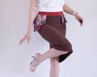 Brown Soft Jersey Tango Skirt with Asymmetric Peplum