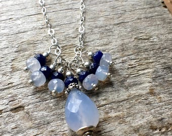 Chalcedony Sapphire Necklace, Blue Chalcedony Sapphire Sterling Silver Necklace, Blue Chalcedony Cluster Necklace