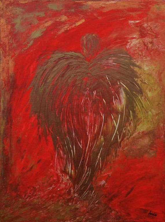 "JADED ANGEL - Original Art 18"" x 24"" Modern, Contemporary, Surreal, Acrylic on Stretched Canvas, Painting by Marianna Mills"