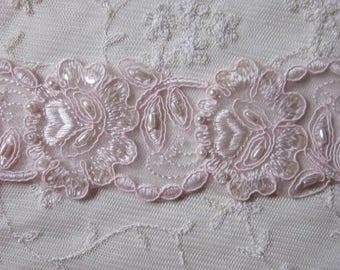 PINK Beaded Flower Leaf Lace Trim embellished w pearls sequins embroidered organza christening doll wedding bridal veil