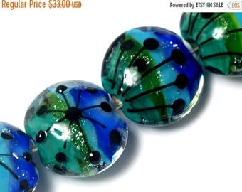 ON SALE 35% OFF Four Peaceful Waters Lentil Beads -10507512 - Handmade Glass Lampwork Bead