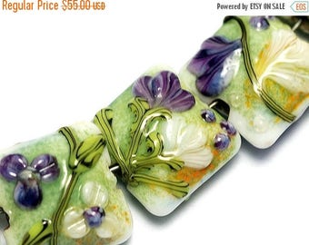 ON SALE 35% OFF Seven White & Purple Flora Pillow Beads - Handmade Glass Lampwork Bead Set 10504504