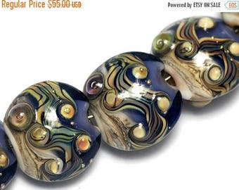 ON SALE 30% off Seven Transparent Ink Blue w/Free Style -10407002-Handmade Lampwork Glass