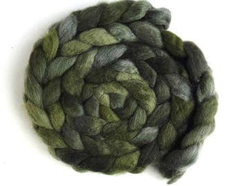 BFL Wool Roving - Hand Painted Spinning or Felting Fiber, Green Shadows
