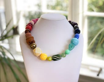 Necklace 2.38 - handmade beaded asymmetrical limited edition colorful rainbow spectrum statement necklace vintage lucite metal ceramic beads