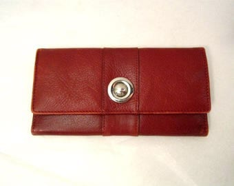 Red Leather Wallet, Red Leather Clutch Vintage Red Wallet Cards and change women wallet