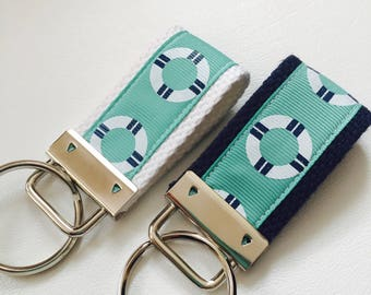 KEY FOB Nautical Beach Life Saver Mini and Wrist Keychain Keyfob Chapstick holder mint ribbon