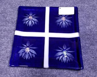 "Lotus Blooms, 10"" Fused Glass Plate"