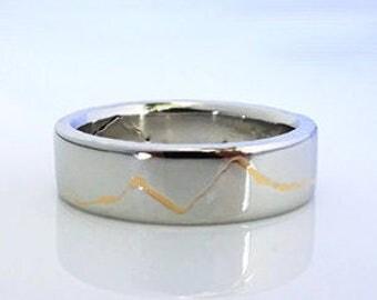 Gold Inlay Mountain Ring, 6mm band, Handmade with Platinum & 22k Gold inlay or Palladium with 18k Gold Inlay, Platinum Wedding band