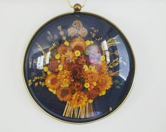 """Large Convex glass pendant Frame with dried flowers ... Blue velvet spring 10"""" circle"""