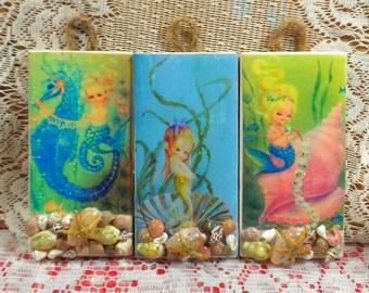 Darling trio set of baby vintage mermaids on hanging tiles