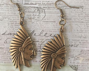 Indian Chief Head Earrings Bronze Antiqued Gold Pewter Dangle Boho Pierced
