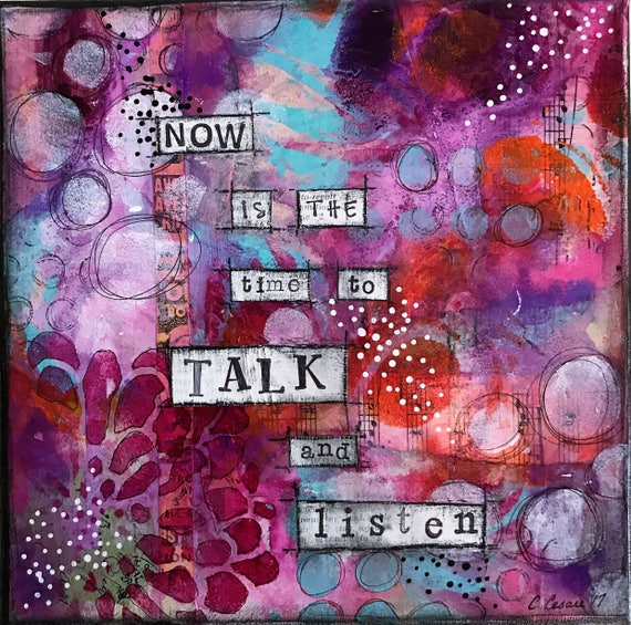 Original Handmade Mixed Media Painting on Canvas Colorful Positive Affirmation Wall Decor