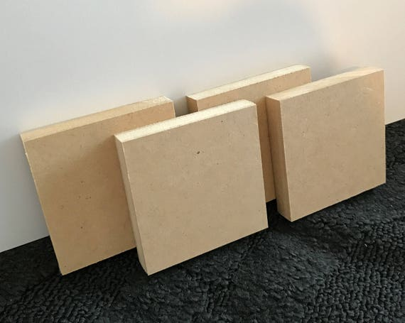 """Four MDF Panels 4"""" x 4"""" Mixed Media Art Wooden Panel Canvas Acrylic Painting Substrate 3/4 inch Four Panels"""