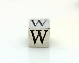 Sterling Silver Alphabet W Block Cube Square Bead 5.5mm Large Hole