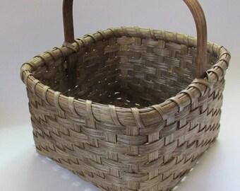 Square Market Basket, Handwoven Basket, Farmhouse Style Basket