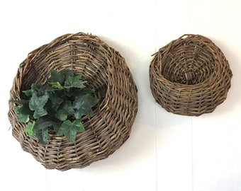 woven twig baskets - hanging wall basket with pocket - dark brown wood plant holder