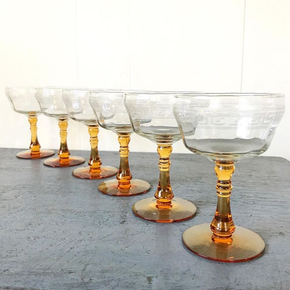 vintage etched cocktail glasses - Mid Century Modern Greek key amber martini barware - holiday table - Set of 6