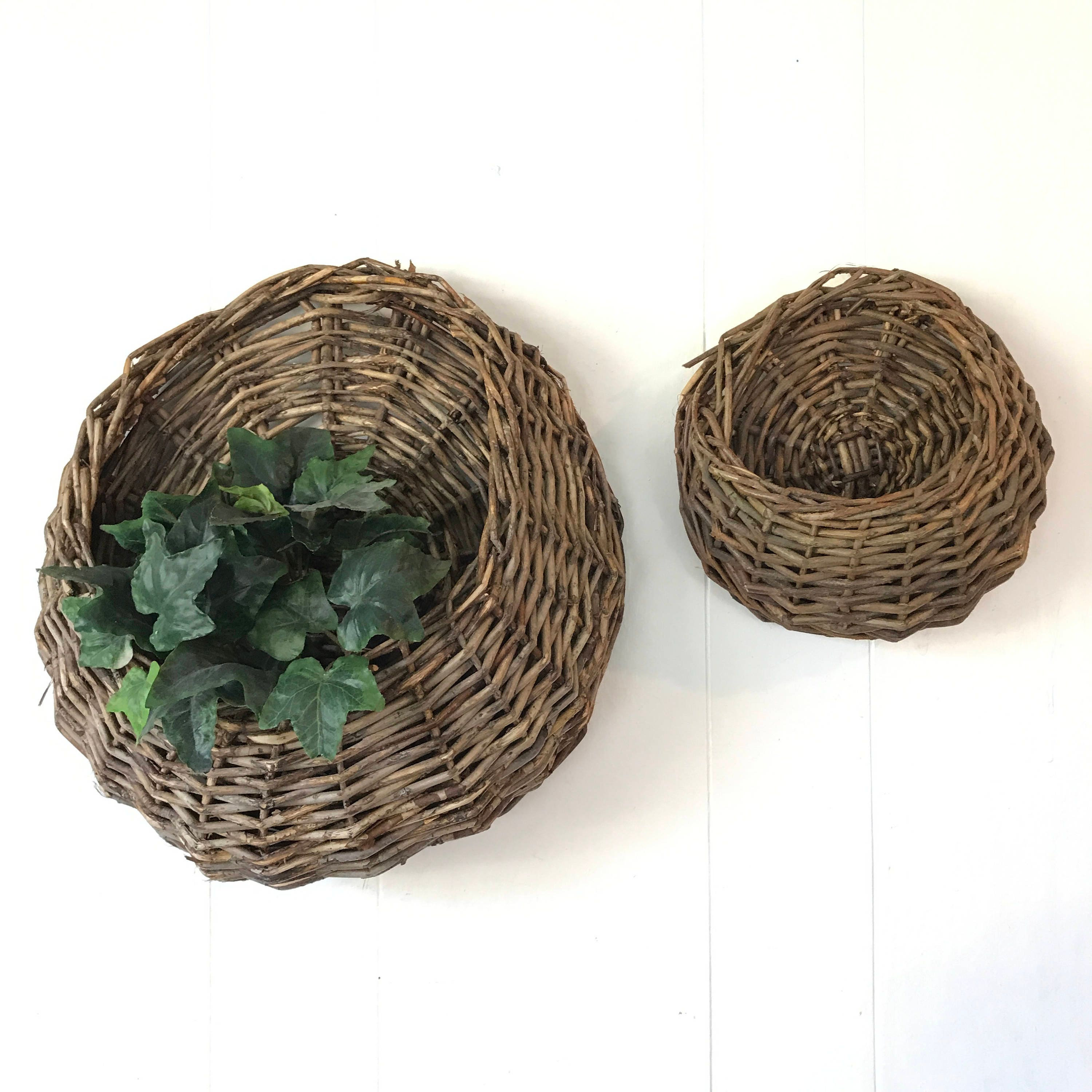 How To Weave A Basket Out Of Twigs : Woven twig baskets hanging wall basket with pocket dark