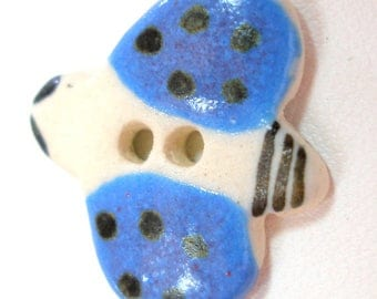 "Ceramic LADYBUG Button, Handmade insect button, 7/8""."