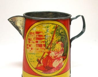 1920s Tin Litho Toy TeaPot, Girl on a Swing by Ohio Art Co.