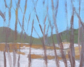 fine art painting - Warners Pond, Snowy Edge - small affordable art by Irene Stapleford - wantknot shop