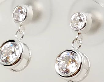 Sparkling Cubic Zirconia Studs with 6mm CZ Drops and Wide Backed Ear Nuts Sterling Silver