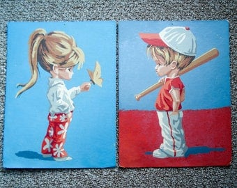 Vintage paint-by-number picture - 1970s kids
