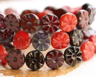 MIXED BLOSSOMS  .. NEW 15 Picasso Czech Glass Flower Beads 12.5mm (B3000-st)