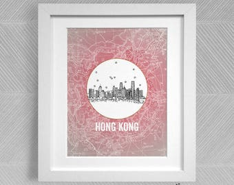 Hong Kong, China - Asia/Pacific - Instant Download Printable Art - Vintage City Skyline Map Series