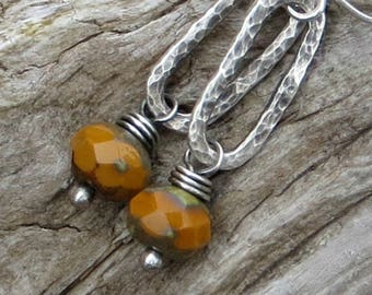 Fused Silver Earrings Orange Earrings Fine Silver Jewelry Autumn Earrings Fall Jewelry Eco Friendly Earrings Gifts for Her