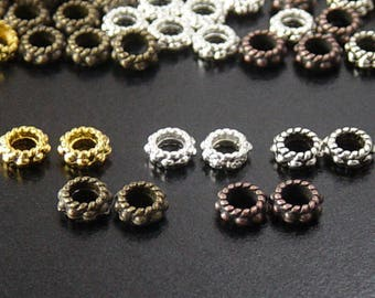 Bead Spacer 140 CHOICE Shiny Silver, Shiny Gold, Antique Silver, Antique Copper, Bronze Daisy Flower Mix 6mm x 3mm Hole 3mm NF (1035spa06s1)