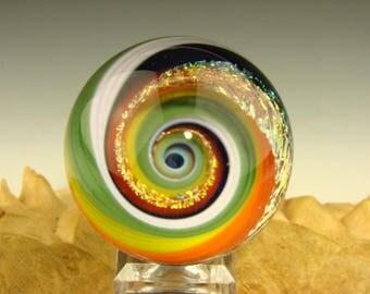 Vortex Marble Dichroic Glass Orb Art Fibonacci Golden Mean Spiral Optical Illusion (ready to ship)