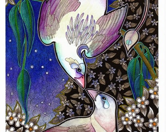 A4 Giclee Signed Limited Print - Unicorn Moon-Sickle Courtship