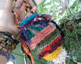 Crochet pouch, Hippie pouch, medicine bag, D96, pouch necklace, Boho pouch, hippie festival, festival pouch, necklace, hippie crochet