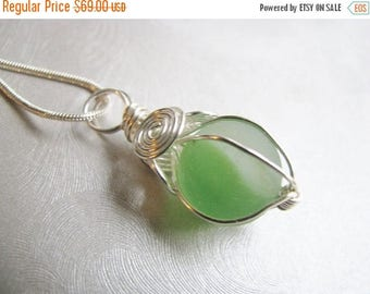 SEA GLASS SALE Soft Green Marble Pendant - Sea Glass Pendant - Beach Glass Jewelry-Wire Wrapped Marble -Statement Mothers Day Marble Pendant