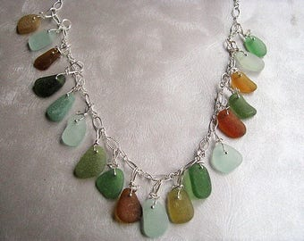 Stunning Sea Glass Necklace- Assorted Colors Beach Glass Necklace - Beach Glass Jewelry -Rare Sea Glass Pieces- Jewelry Gift - Ocean Jewelry