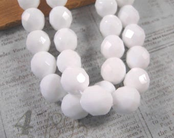 Czech 8mm Round Chalk White Fire Polished Beads -  25 Count