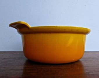 Descoware Large Sauce Pan w/ Handle, Flame Yellow, Vintage Enameled Cast Iron Made in Belgium