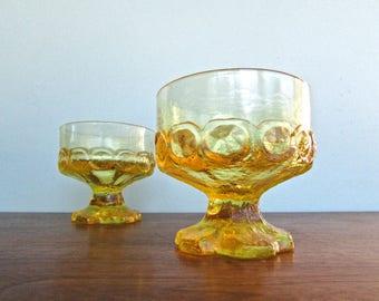 Franciscan Madeira in corn silk, 2 Pedestal Champagne Sherbet Glasses, Retro Funky Chunky Parfait Glass, Pressed Art Glass