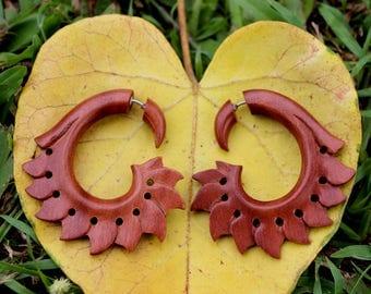 Fake Gauges Earrings,cheater,split gauge,earrings,cheater,wody piercings,hand made