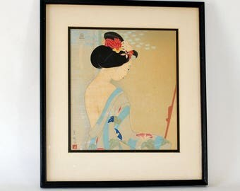 RESERVED for Lisa Vintage Japanese Geisha in Front of the Mirror Serigraph Woodblock