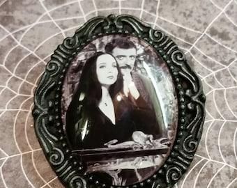 Morticia & Gomez Addams brooch - Addams family jewelry- Gomez brooch