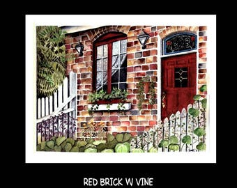 Red Brick House Watercolour Set of Six Note Cards