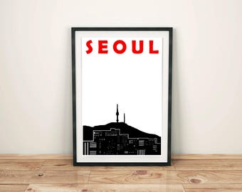 Seoul Print // Seoul Skyline // Korean Print // Seoul Poster // Seoul Art // Korean Print // South Korea Art // South Korean Art