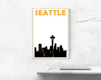 Seattle Print // Seattle Skyline // Seattle Poster // Seattle Art // Housewarming Gift // Moving Away Gift // Moving in Together Gift