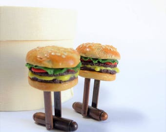 Double Patty Burger with Melted Cheese Cufflinks - Burger Cuff Links - Miniature Food Art Jewelry - Schickie Mickie Original 100% handmade
