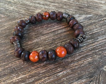 Wood and Fire Agate Mens Bracelet