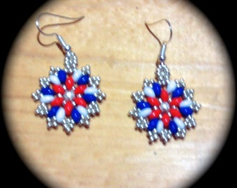 Red White and Blue Native American Style Handwoven Seed Bead Earrings Medallion Style native boho  ethnic tribal african ethnic cottage chic