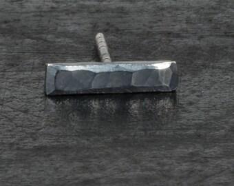 Sterling silver stud earrings, oxidized black